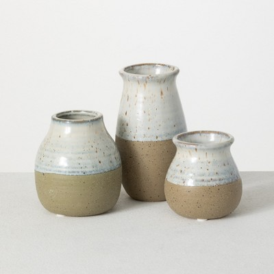 "Sullivans Set of 3 Ceramic Vases 5.5""H, 4""H & 3.25""H Blue and Brown"