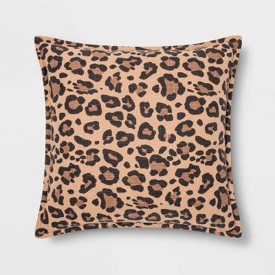 Square Leopard Print Linen Pillow Neutral - Threshold™