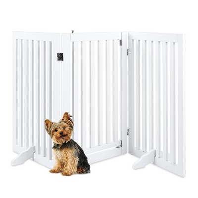 Best Choice Products 31.5in 3-Panel Freestanding Wooden Pet Gate w/ Walk Through DoorAdjustable Pen