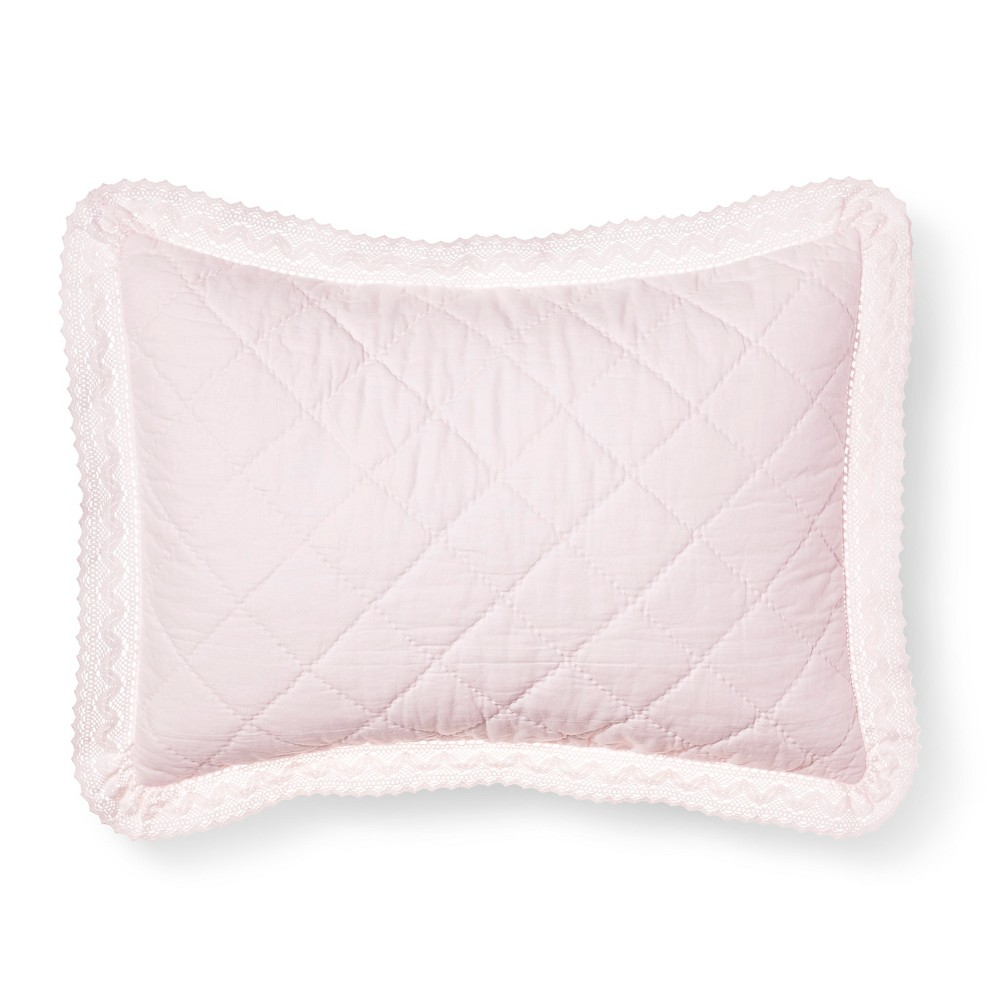Pink Crochet Trim Linen Blend Pillow Sham (King) - Simply Shabby Chic
