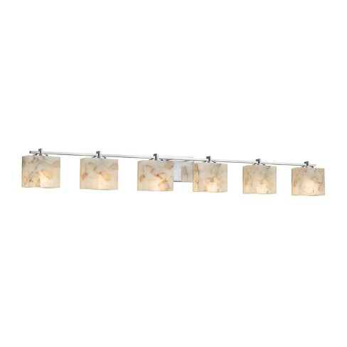 "Justice Design Group ALR-8446-55 Alabaster Rocks! 6 Light 56"" Wide Bathroom Vanity Light - image 1 of 1"