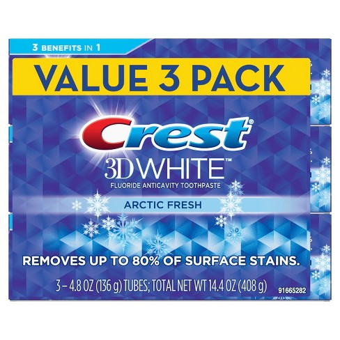 Crest 3D White Whitening Toothpaste Arctic Fresh Icy Cool Mint Flavor - 14.4oz (Pack of 3) - image 1 of 4