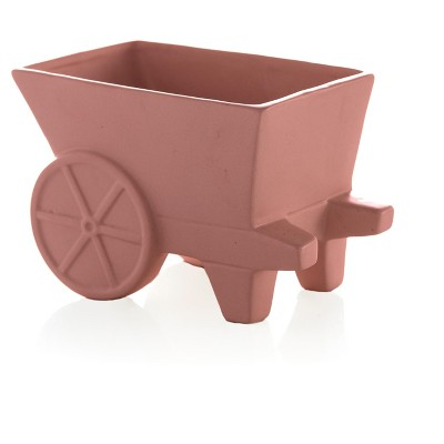 Large Kasbah Wheelcart Planter  - Orange - Shiraleah