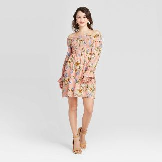 Women's Floral Print Long Sleeve Smocked Top Dress - Xhilaration™ Pink XS