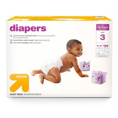 Diapers Giant Pack Size 3 - 168ct - Up&Up™