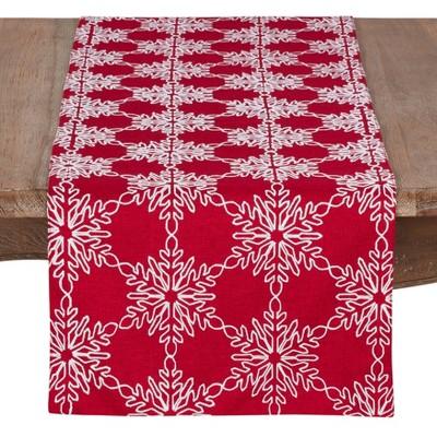 "16""x70"" Snowflake Runner Red/White - SARO Lifestyle"