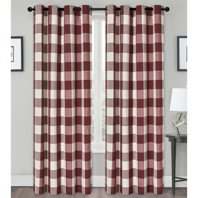 Kate Aurora Country Farmhouse Living Classic Buffalo Plaid Checkered Grommet Top Curtains