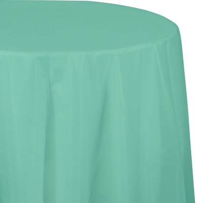 Fresh Mint Green Round Plastic Tablecloth