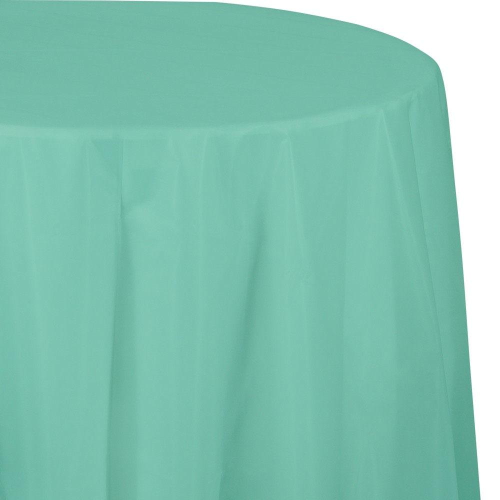 Fresh Mint Green Round Plastic Tablecloth