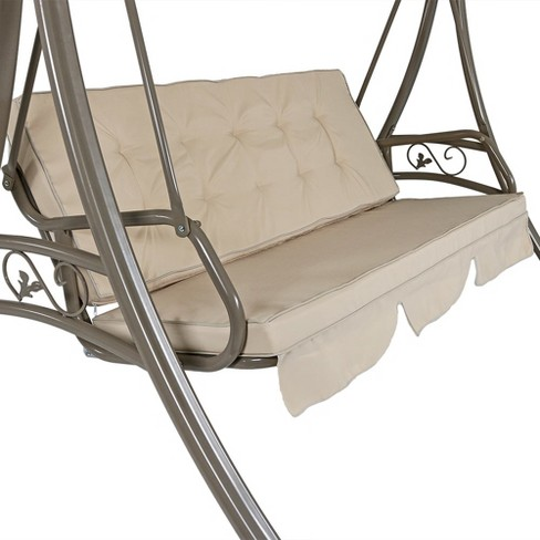 Deluxe 3-Seat Steel Frame Patio Swing with Cushions and Canopy ...
