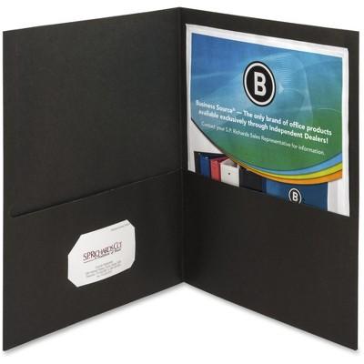 """Business Source 2-Pocket Folders 125 Sht Cap Letter 12""""x9"""" 25/BX BLK 78490"""