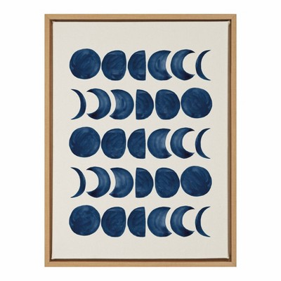 """18"""" x 24"""" Sylvie Moon Phases Framed Canvas Wall Art by Teju Reval Natural - Kate and Laurel"""