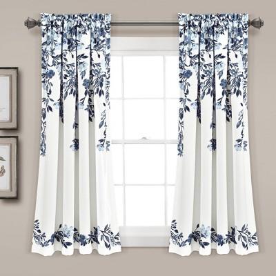 "Set of 2 (84""x52"")Tanisha Room Darkening Window Curtain Panels Navy/White- Lush Décor"