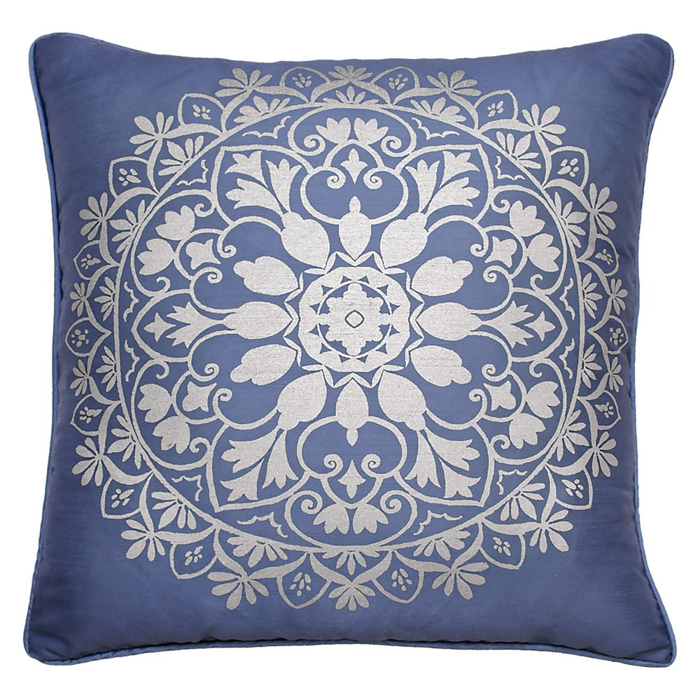 Image of Indochine Silver Foil Medallion Throw Pillow Blue - Beautyrest