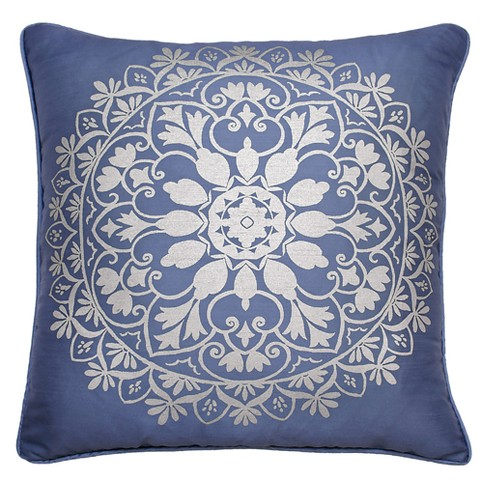 Indochine Silver Foil Medallion Throw Pillow Blue - Beautyrest - image 1 of 3