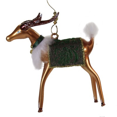 """Italian Ornaments 5.25"""" Reindeer With Fabric Saddle Italian Ornament  -  Tree Ornaments"""