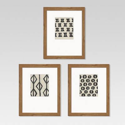 Framed Graphic Tribal Pattern Black/White 8 x10  3pk - Threshold™