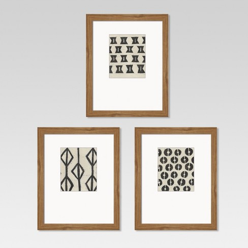 """Framed Graphic Tribal Pattern Black/White 8""""x10"""" 3pk  - Threshold™ - image 1 of 4"""