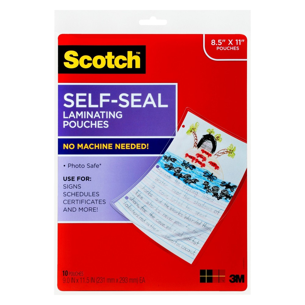 Scotch Laminating Sheets, Self-Seal, Letter Size, 10ct - Clear