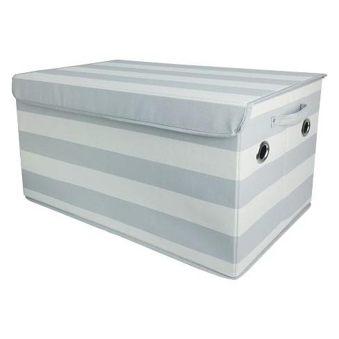 Large Rectangle Stripe Toy Storage Bin Gray/White - Pillowfort™ - image 1 of 3