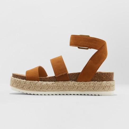 fba1f7f38e04 Women s Agnes Wide Width Quarter Strap Espadrille Flatform Sandals - Universal  Thread™ Cognac 9.5W   Target
