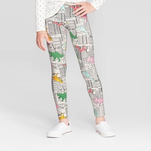 Girls' Dinosaur Print Leggings - Cat & Jack™ Cream - image 1 of 3