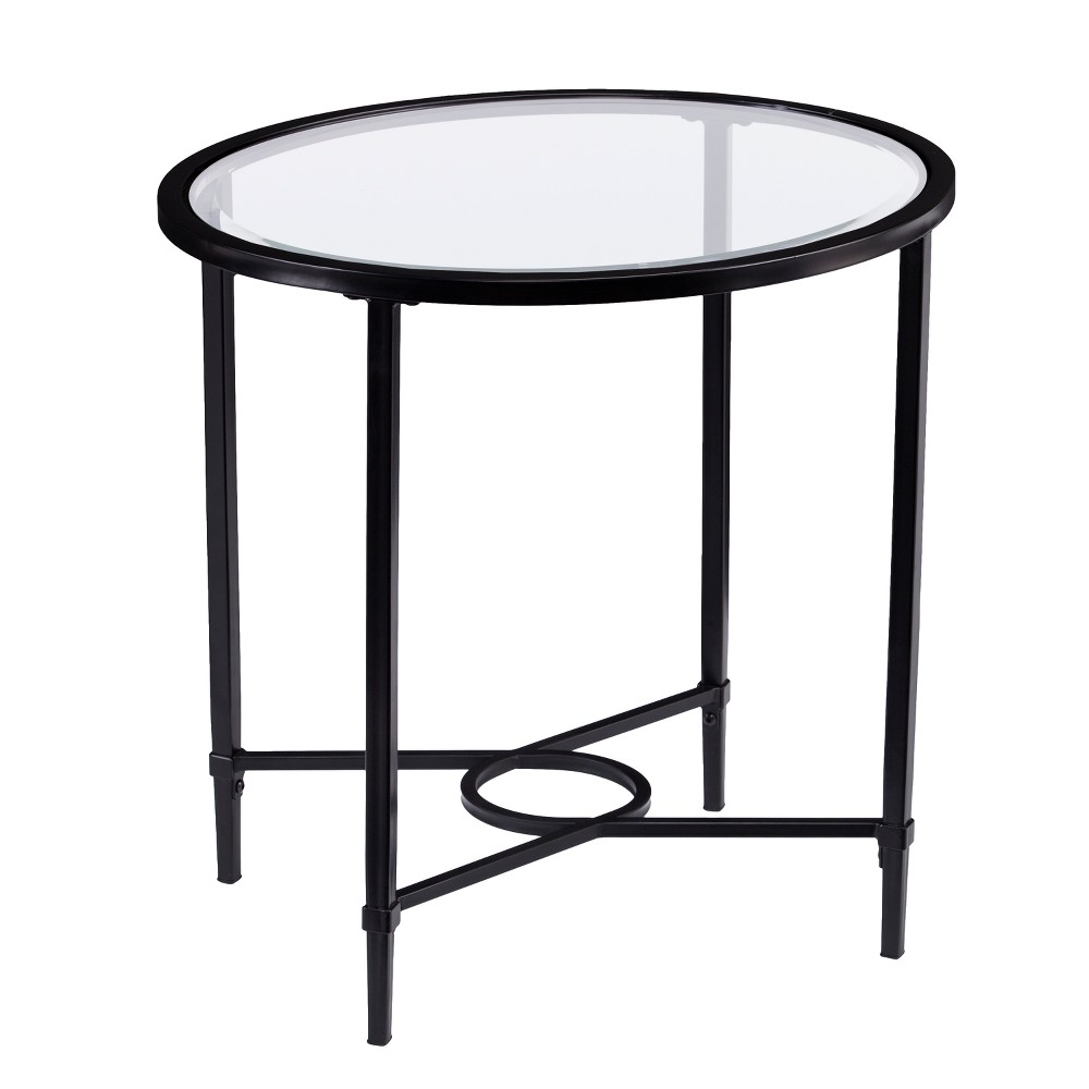 Dickinson Metal Glass Oval Side Table Black Aiden Lane