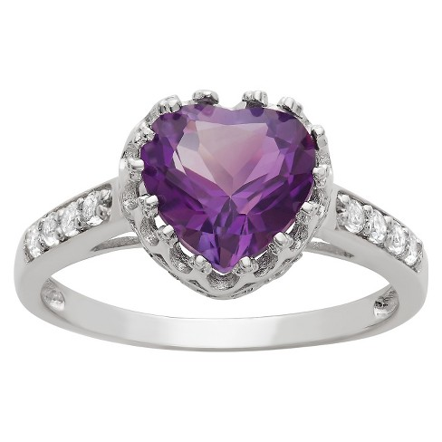 1 3/4 TCW Tiara Heart-cut Birthstone Crown Ring in Sterling Silver - image 1 of 1