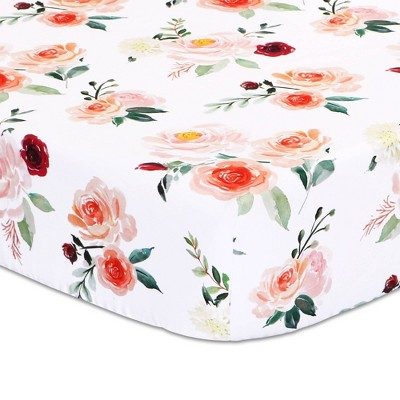 Rose Fitted Sheet - Floral Print by The Peanutshell
