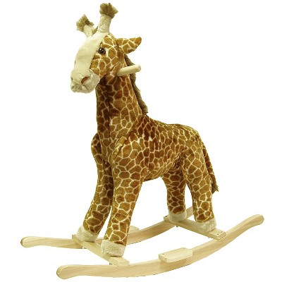 Happy Trails Plush Rocking Giraffe - Brown