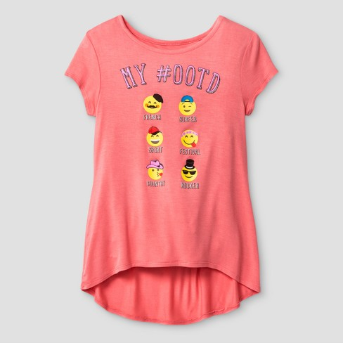 72d6b6775 Girls' Short Sleeve My OOTD High Low Graphic T-Shirt - Coral L : Target