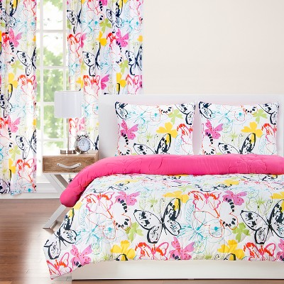 Full/Queen Flutterby Reversible Comforter With Sham Set - Crayola