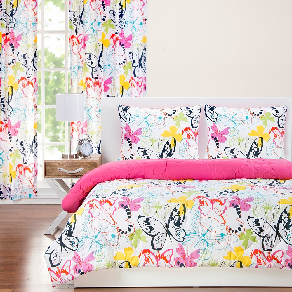 Full Queen Flutterby Reversible Comforter With Sham Set Crayola