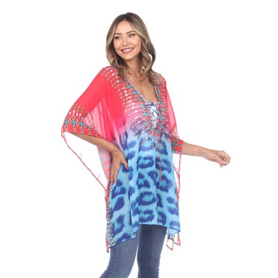 Animal Print Caftan with Tie-up Neckline - One Size Fits Most - White Mark