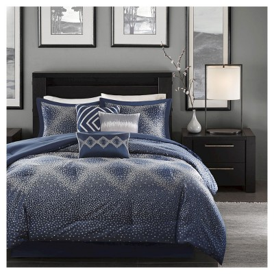 Navy Garner Modern Diamond Multiple Piece Comforter Set (California King)- 7 Piece