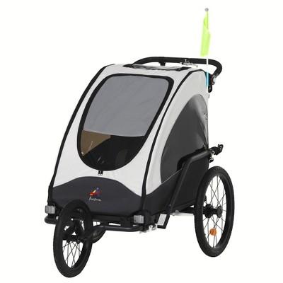 Aosom Child Bike Trailer 3 In1 Foldable Jogger Stroller Baby Stroller  with Shock Absorber System