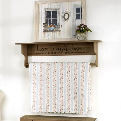 Lakeside Wall Mounted Quilt Hanger and Shelf with Live Laugh Love Sentiment