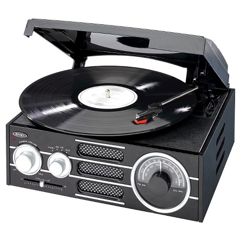 JENSEN® 3-Speed Stereo Turntable with AM/FM Radio - Black - image 1 of 3