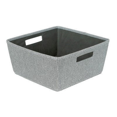 Poly Linen Tapered Bin With Cutout Handle Large Gray - Threshold™