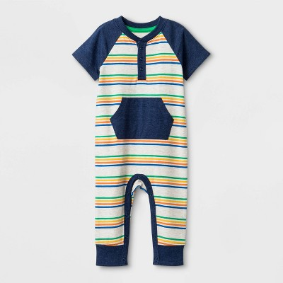 Baby Boys' Striped Romper - Cat & Jack™ Yellow/Blue 3-6M