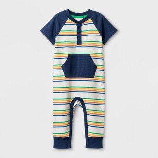 Baby Boys' Striped Romper - Cat & Jack™ Yellow/Blue Newborn