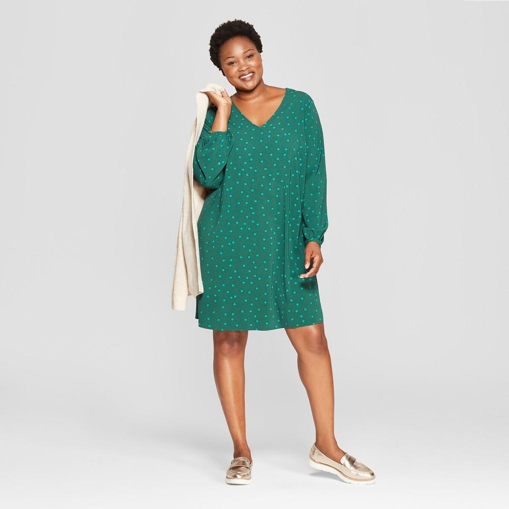 Women's Plus Size Polka Dot Shift Dress - Ava & Viv Green 1X