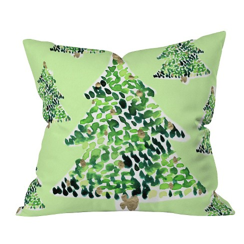 "Green Nature Cayenablanca Smells Like Christmas Throw Pillow (16""x16"") - Deny Designs® - image 1 of 1"
