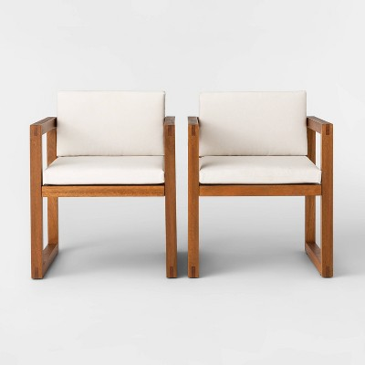 Kaufmann 2pk Wood Patio Arm Chair - Natural - Project 62™