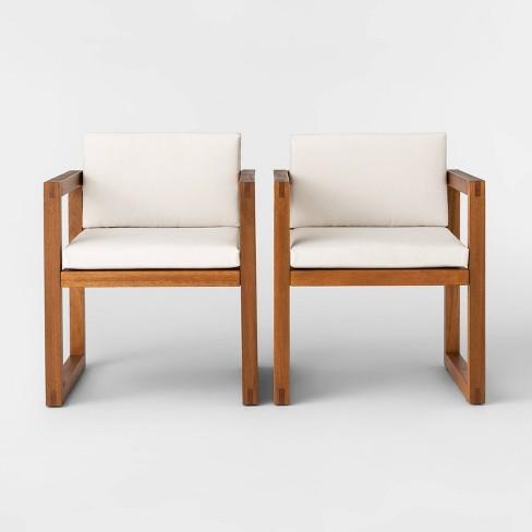 Kaufmann 2pk Wood Patio Arm Chair