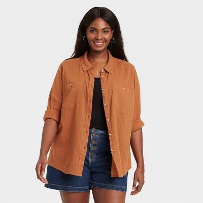 Women's Plus Size Long Sleeve Button-Down Shirt - Ava & Viv™