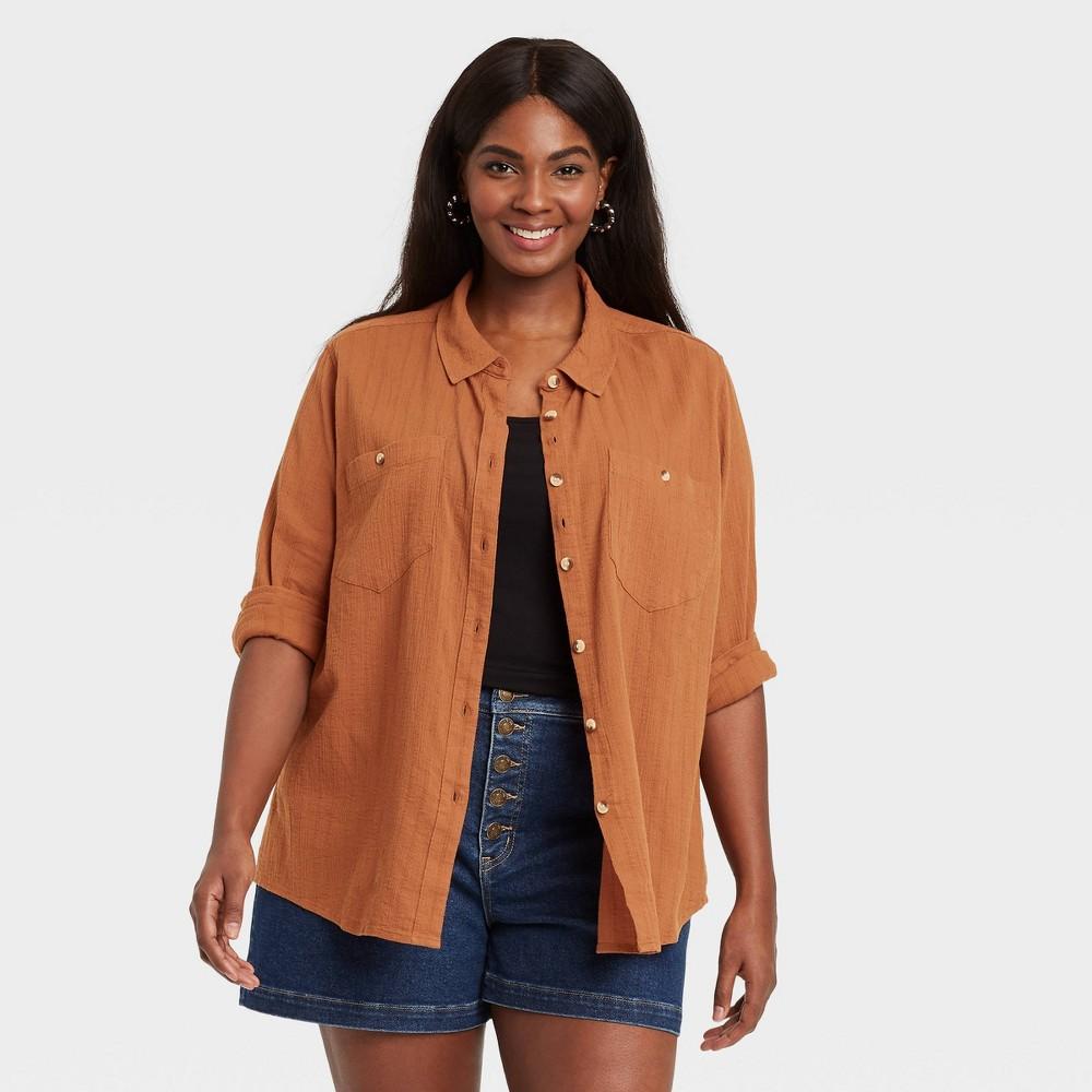 Women 39 S Plus Size Long Sleeve Button Down Shirt Ava 38 Viv 8482 Rust 1x
