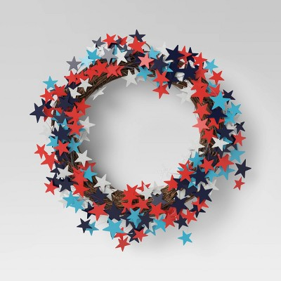 """17"""" Americana Scatter Star Wreath Blue/Red - Sun Squad™"""