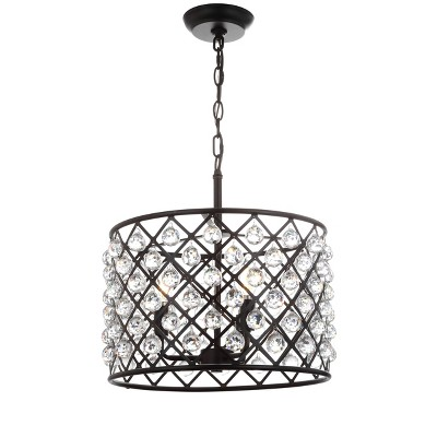 "16"" LED Crystal/Metal Gabrielle Pendant Oil Rubbed Bronze - Jonathan Y"