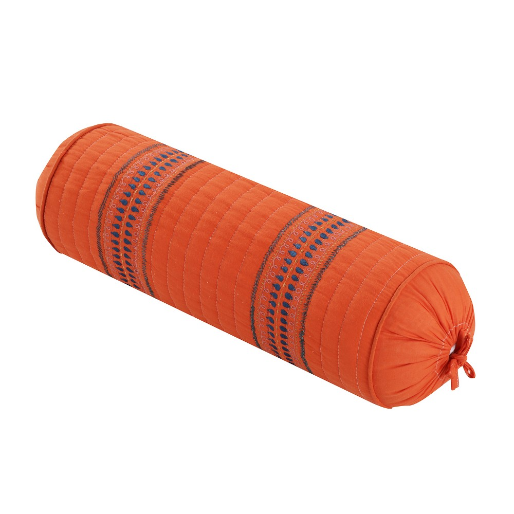 Image of 7x22 Ilana Embroidered Neckroll Pillow Orange - Homthreads